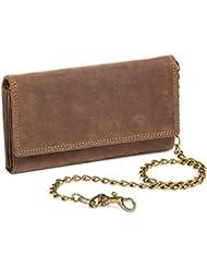 Biker Portefeuille pour homme et femme avec la chaîne laiton Vintage-Style format portrait LEAS MCL, cuir véritable, marron - ''LEAS Chain-Series''