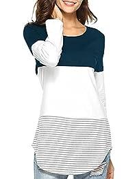 ❤️ Tefamore Camiseta de Mujer Camisas O-Cuello Manga de Larga Camisa Patchwork Blusas Suelto Tops Casual Pullover Mujer Sweatshirt