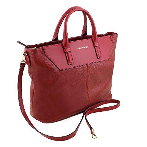 Tuscany Leather Irene - Sac à main en cuir souple avec bandoulière - TL141514 (Beige) Rouge