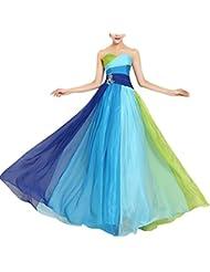 Missfox Vestido Túnica De Bloques De Color Sin Tirantes Para Mujer L Azul Ldiamante