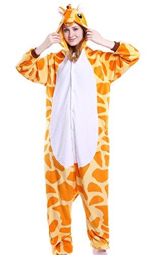 Kostüme Giraffe Womens (Dolamen Erwachsene Unisex Jumpsuits, Kostüm Tier Onesie Pyjama Nachthemd Schlafanzug Kapuzenpullover Nachtwäsche Cosplay Kigurum Fastnachtskostuem Xmas Halloween (Large (65