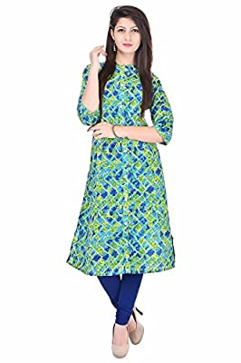 Bright Cotton Kurtis for Women (Cotton , Green , Multicolor , Banded Collar ) BCRMF-5139-V - Multi Neck: Banded Collar