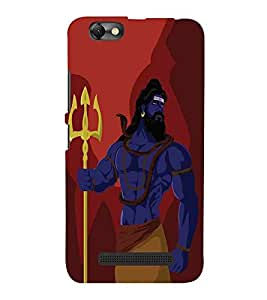 For Lenovo Vibe C :: Lenovo A2020 lord shiva, red background, shiva Designer Printed High Quality Smooth Matte Protective Mobile Case Back Pouch Cover by APEX