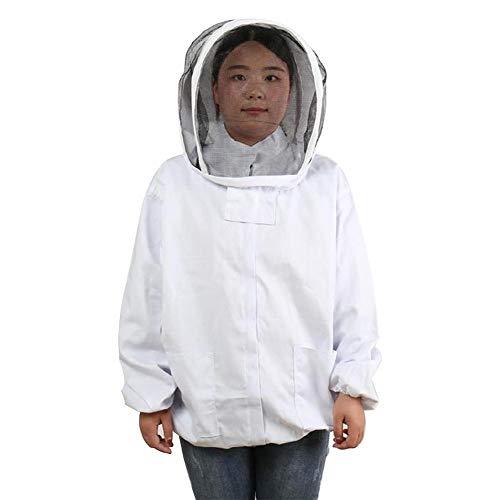 Ecisi Professionelle weiße Imkerei/Biene Anzug mit Schleier, Imker Anzug, Imker Jacke mit selbsttragenden Schleier Imker Kapuzenjacke Schleier Raucher Biene Jacke