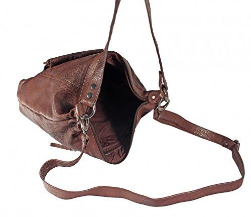 Corverio - große Umhängetasche Schultertasche Ledertasche HochFormat Washed Leder CROSSOVER BAG Damen Handtaschen 35x36x9 cm (B x H x T), Farbe:schwarz schwarz