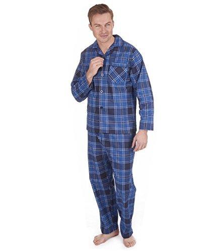 Herren Gebürstet Pure 100% Baumwollschlafanzug Winter Warm Flanell Thermo M L XL XXL - marineblau/blau kariert, XXXXX-Large (Baumwolle Pyjama-böden)