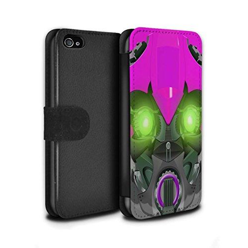 Stuff4 Coque/Etui/Housse Cuir PU Case/Cover pour Apple iPhone 4/4S / Opta-Bot Jaune Design / Robots Collection Bumble-Bot Violet