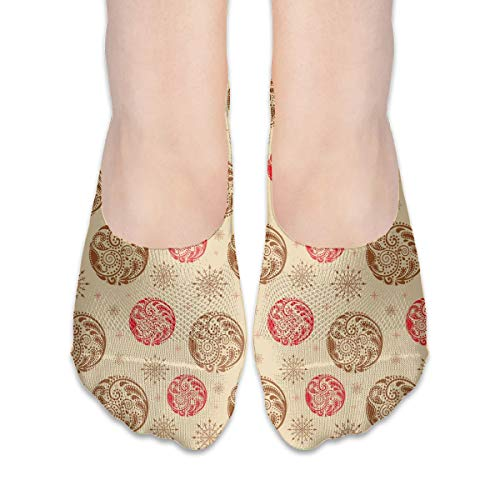 KKAIYA Women & Men Casual Low Cut Boat Sock invisible socks,Vintage Style Circles With Leaf Ornaments And Artistic Stars,Cotton Casual Athletic Socks,Sand Brown Caramel Scarlet - Scarlet Fishnet
