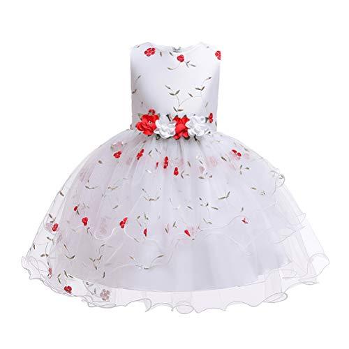 TAAMBAB Mädchen Lace Tutu Kleider Prinzessin Pageant Flower Petals Bow Kleid Kinder Prom Ballkleid Chiffon Brautkleider für 2-14 Jahre -