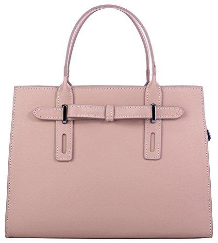 CLUTY Handtasche ECHT LEDER rosa Damen Mittel 018994 (Abend-handtasche Rosa)
