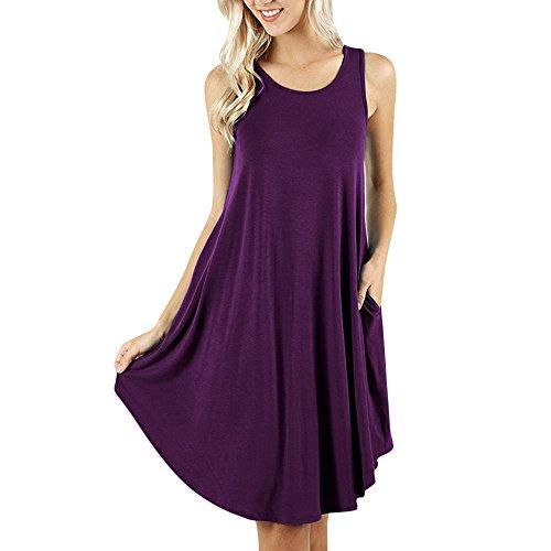 JURTEE Damen Ärmelloses Damenkleid Taschen Lässige Swing T-Shirt Kleider Einfarbig Tasche Kleid Räumungsverkauf(Medium,Lila)