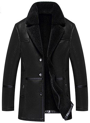 moxishop Hommes Blazer revers en peau de mouton manteau de fourrure en cuir chaud hiver Trench Parka en laine d'agneau doublé Duffle Coat (X-Small, F1728-Noir)