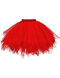 3000a2591 SHOBDW Disfraz de Carnaval Mujeres Plisadas Falda de Gasa de Adultos Falda  de Baile tutú Retro