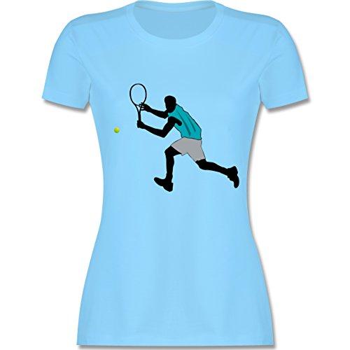 Tennis - Tennis Squash Rückhand - tailliertes Premium T-Shirt mit Rundhalsausschnitt für Damen Hellblau