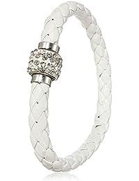 Bracelet Gourmette Tresse Strass Bijoux Cuir PU Magnetique Femme Cristal Cadeau