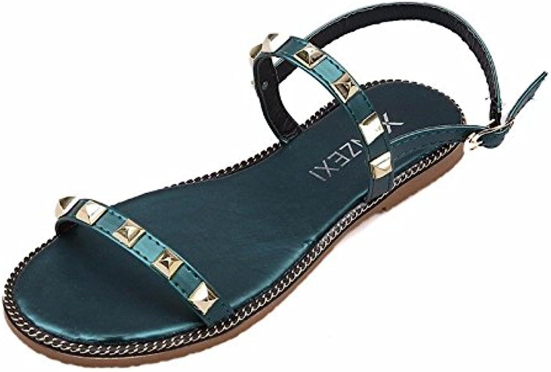 038737914b524 BTBTAV Flat Sandals Female Summer Korean Version Of The Wild Wild Wild Thin  Belt Flat And Beach Shoes Eu 38 Green Parent B07DLTM25V f33596