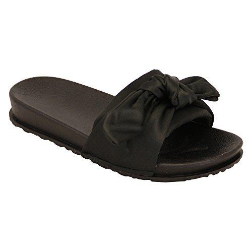 Mädchen Slipper Hausschuhe Schleife Schieber Kinder bequem Gummi Open Toe Sandalen Slipper NEU schwarz - 5836