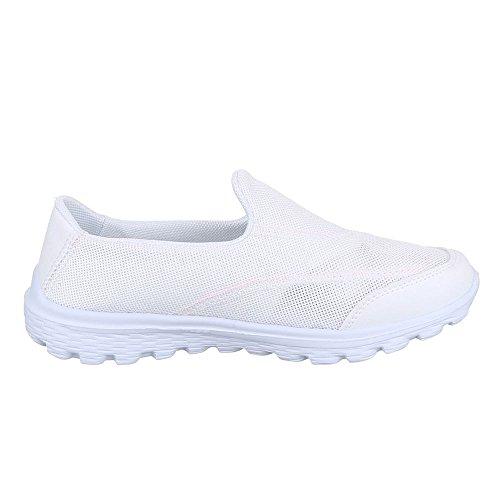 Damen Schuhe, B92B-SP, HALBSCHUHE SPORTSCHUHE SLIPPER Weiß