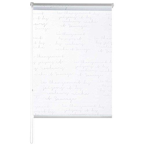 casa pura® Fashion Rollo Calligraphy | blickdicht & lichtdurchlässig | Klemmrollo für Fenster, auch ohne Bohren anbringbar | 9 Größen (110x150cm) (Rollo Clip)