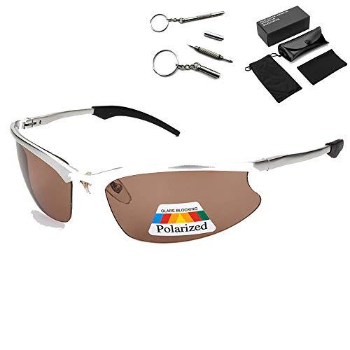 Wild Sunglasess Polarisierte Sonnenbrille Winddicht Sport Batterie Motorrad Reitbrille Aluminium Magnesium Outdoor Herren Explosionsgeschützte Sonnenbrille Silver Frame Blue Grey Piece