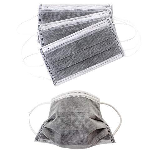 50PCS monouso Filtro protezione 4 strati Carbone attivo Unisex Anti-polvere Viso Bocca Maschera Cover Bocca-muffola con elastico Earloop per saloni per unghie (Grigio)