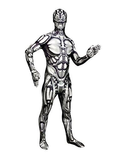 Android Morphsuit Halloween Roboter schwarz-weiss XL (bis zu 1,90 (Android Kostüm Roboter)