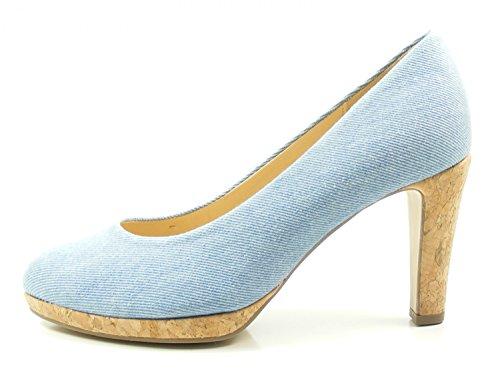 Gabor 81-270-40 Schuhe Damen Jeans Kork Plateau Pumps Weite F, Schuhgröße:40.5;Farbe:Blau