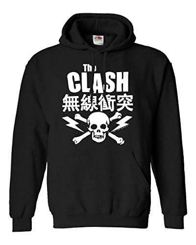"Felpa Unisex ""The Clash"" - Japanese Sweat - Felpa con cappuccio rock band LaMAGLIERIA, L, Nero"
