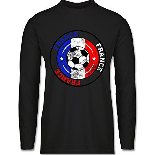 Shirtracer Fußball-WM 2018 - Russland - France Kreis & Fußball Vintage - Herren Langarmshirt Schwarz