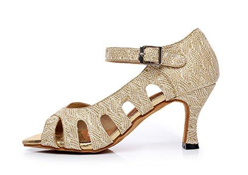 Minitoo da donna stile qj6209Cut Out Strap singolo in rete scarpe da ballo Salsa Latin Dance scarpe Gold