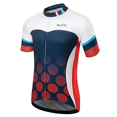 ROTTO Radtrikot Herren MTB Rennrad Trikot Kurzarm Fahrradbekleidung (C Weiß-Blau-Rot, L) -