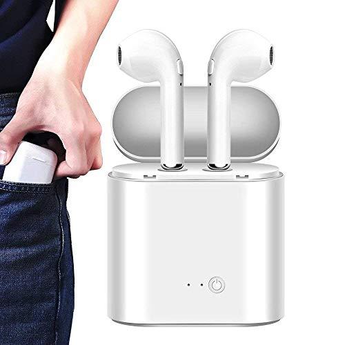 Auriculares Bluetooth, Auriculares inalámbricos Auriculares intrauditivos Bluetooth Auriculares Deportivos para iPhone, Android, Samsung (Blanco Puro, Doble)