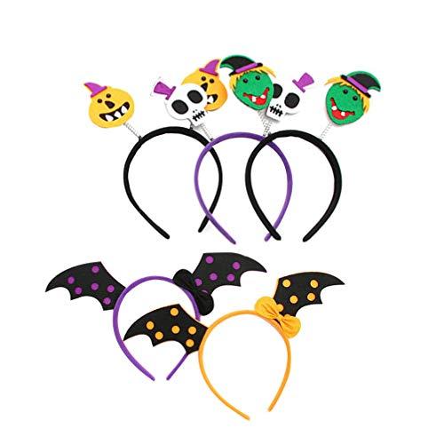 Haar Fledermaus Kostüm - Amosfun 5pcs Halloween Haarband Fledermaus Schädel Stirnband Party Dress-up Kostüm Haar-Accessoire