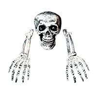 amazingfr Halloween Bones Decorations Skeleton Skull Heads and Skeleton Hands for Halloween Spookiest Graveyard Scene Decor Party Supplies