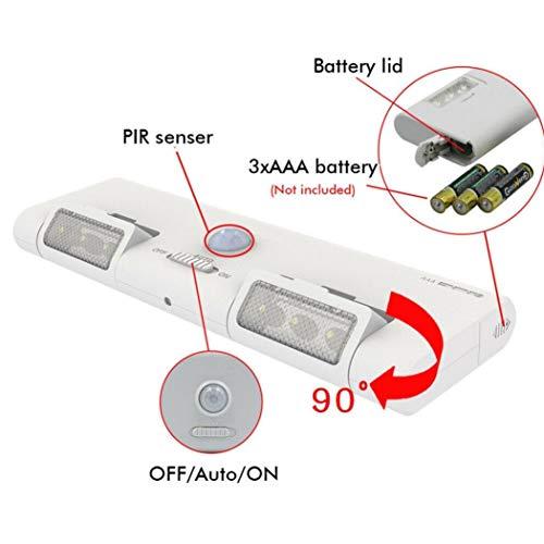 Schrank Bewegungs-sensor-licht (Zonster Nachtbatteriebetriebene Treppe PIR Potable Streifen-Lampe Wand 6LED Detector Cabinet-Bewegungs-Sensor-Licht Verknüpfbar Schrank Drahtlose)