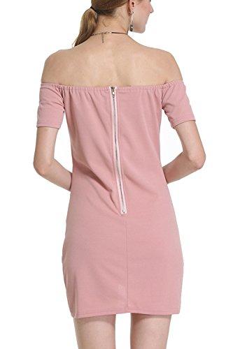 Yacun Frauen aus der Schulter Bodycon Bleistiftkleid Pink