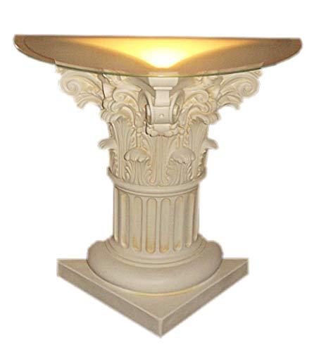 Von Hand Bemalt, Sockel (KARO DESIGN Säule mit Licht Lampe halb geschnitten Wunderbar in weiß Patin Hand bemalt Sockel Standsäule Blumensäule Glas beleuchtet)