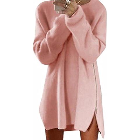 QIYUN.Z Camisetas De Manga Larga Vestido De Suéter Lado Dividida Jersey Para Mujer Del Otoño Del