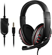 3.5mm Wired Gaming Headphones Over Ear Game Headset Noise Canceling Earphone with Microphone Volume Control fo
