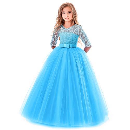 OBEEII Kleider Teenager Mädchen Blumenspitze Kurze Ärmel Elegante - Prinzessin Kleider Für Teenager