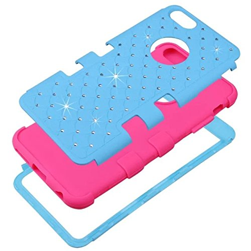 iPhone 6S Fall, iPhone 6 Bling Fall, Lantier [weich hart Tough Case] Designer Kristallbling Hybrid-Rüstungs-Kasten-Abdeckung für iPhone 6, iPhone 6S 4,7-Zoll-Hot Pink + Blau Crystal Bling Blue+Yellow