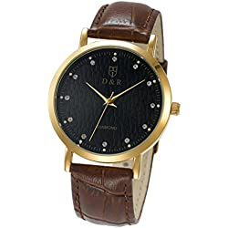 black friday deals Men's Ultra Thin Waterproof Watch Luxury Zircon Insert Gold Plated Watch Black Screen Brown Leather Strap