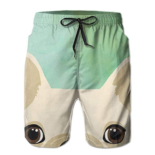 Paint0 Men's Cute French Bulldog Quick Dry Boardshort Swimm Surf Trunk Athletic Beach Board Shorts Small -
