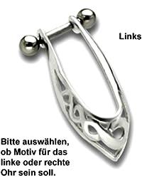 Ohr Piercing für Helix Ohrschmuck, TIP, Ohrpiercing für das linke oder rechte Ohr, 925 Sterling Silber Motiv und inkl. 316L Edelstahl Barbell (Stift) – TIP174