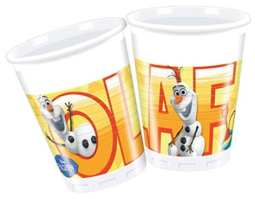Procos 84623 Disney 200 ml Frozen Kunststoff Tassen, 8 Stück mit Sommer Olaf, Multi-Colored (Olaf Supplies Party Frozen)