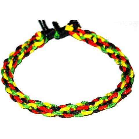 Braccialetto Brasiliano dell' amicizia macramè cotone Friendship portafortuna Bob Marley Rasta Reggae Giamaica Jamaica