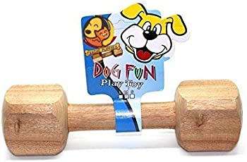 Foodie Puppies Wooden Dumbbell Training Dog Toy for Small to Medium Breeds