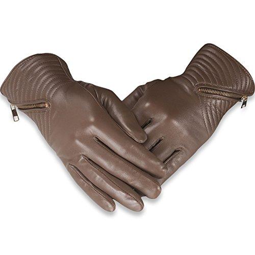 Preisvergleich Produktbild Quivano - Damen Handschuhe mit Reißverschluss & Fleece-Futter - Echtes Leder - 328-200
