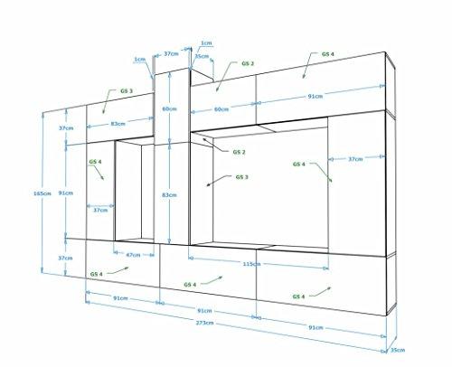 FUTURE 22 Moderne Wohnwand, Exklusive Mediamöbel, TV-Schrank, Neue Garnitur, Große Farbauswahl (RGB LED-Beleuchtung Verfügbar) (Weiß MAT base / Weiß HG front, Möbel) - 2