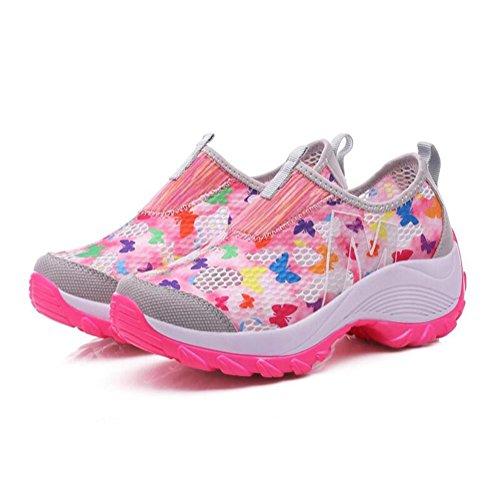 Scarpe di rete brillante da donna scarpe da ginnastica casual di modo estivo traspirante e leggero Pink